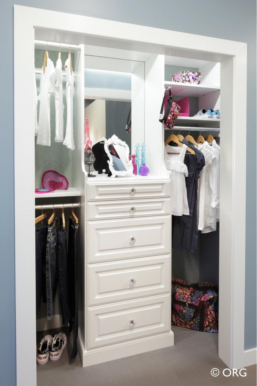 Do #7 Floor mounted reach in closet without doors allows you to add drawers Columbus | Innovate Home Org #CustomOrganization #ReachInCloset #StorageOrganization