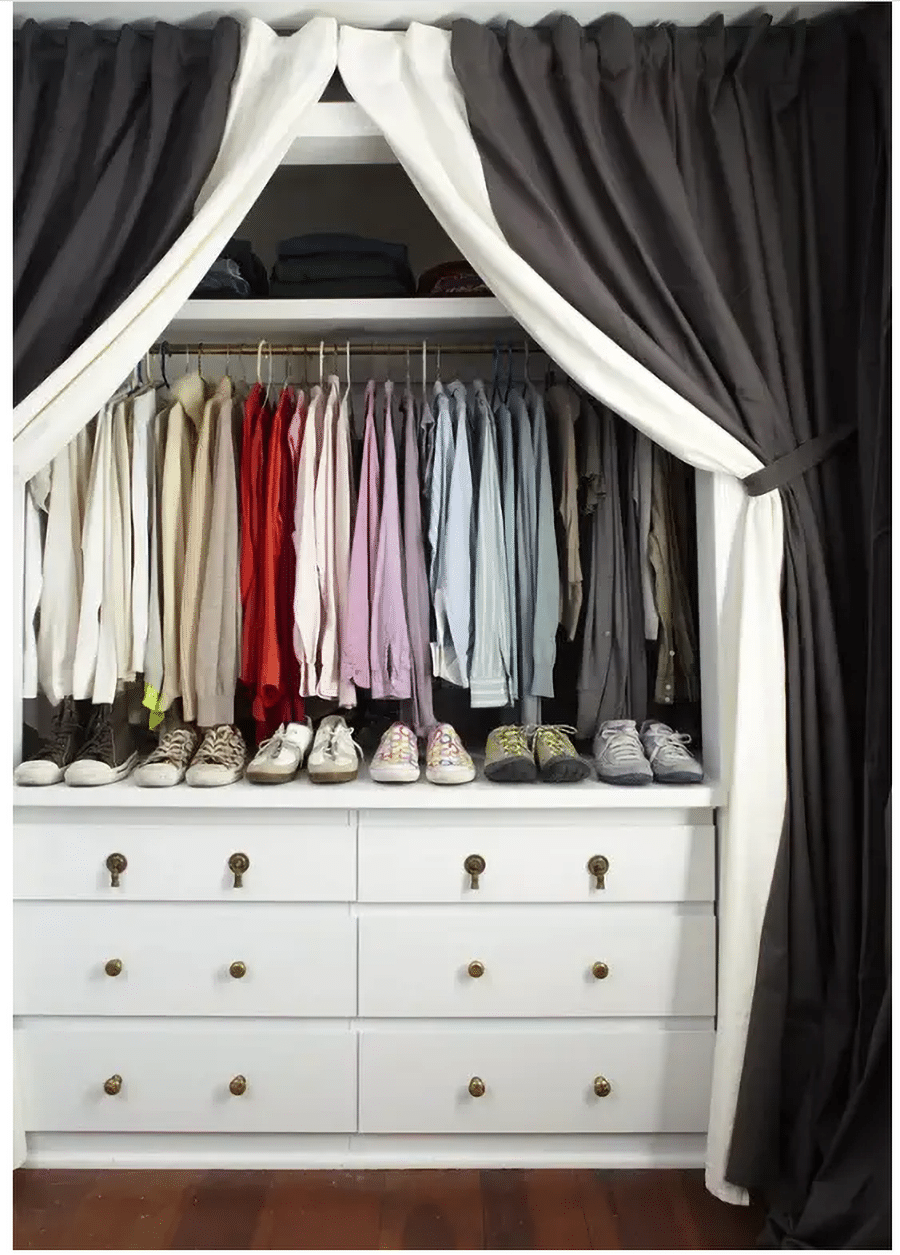 Do #7 curtains on a closet credit www.brightstuff.com  | Innovate Home Org | #CustomCloset #organization #StorageSolutions
