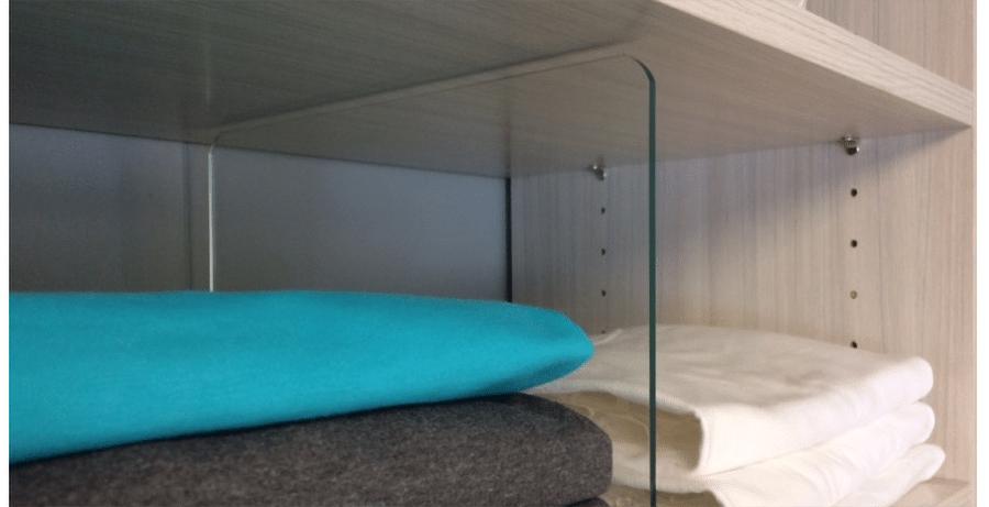Don't #13 acrylic shelf dividers credit www.closetsoftulsa.com | Innovate Home Org #CustomOrganization #AcrylicShelving #Dividers