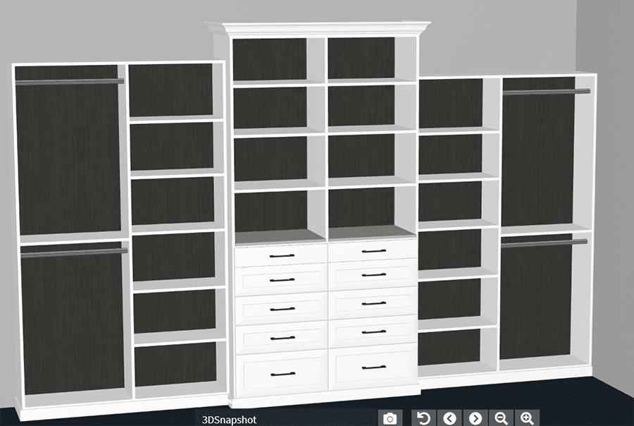 Pro 5 - 3D Design with Custom Wood Grain Black Back Panels Shaker Drawers | Innovate Home Org | #CustomStorage #BackPanels #ClosetDesign