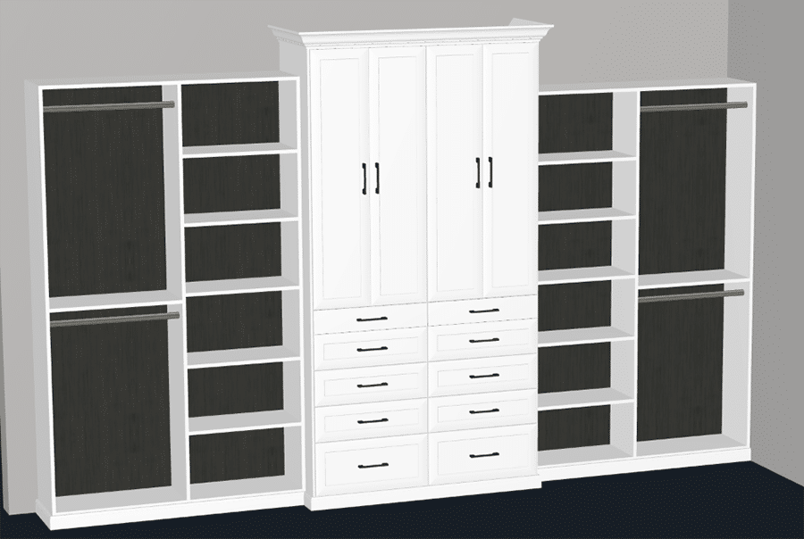 Pro 5 - 3D design with Shaker Doors and Drawers and No Back Panels | Innovate Home Org | #Closetdrawers #Closetdoors #Organization
