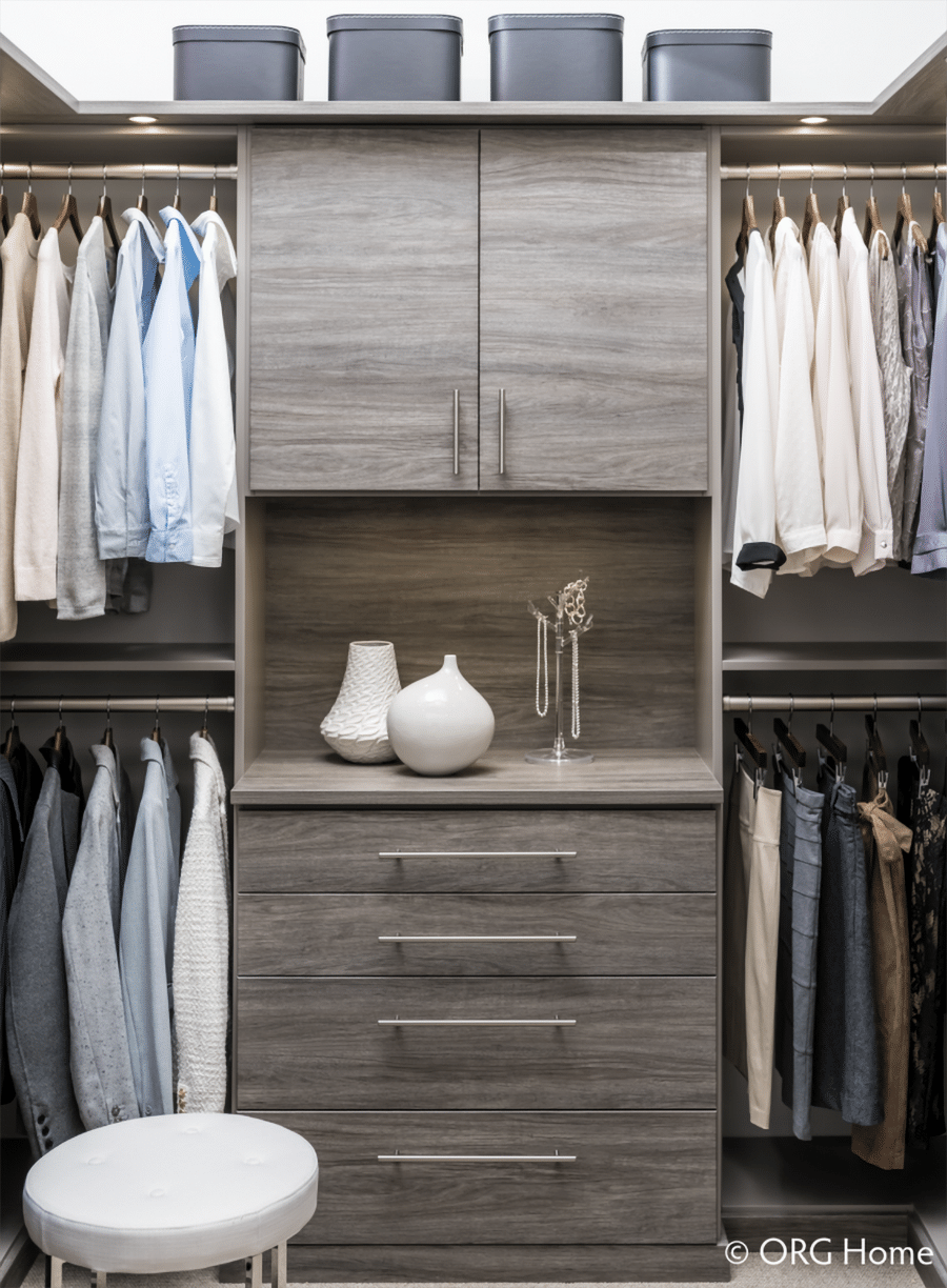 Strategy 1 add double hanging sections in columbus custom closet | Innovate Home Org #CustomStorage #HangingStorage #Doublestorage