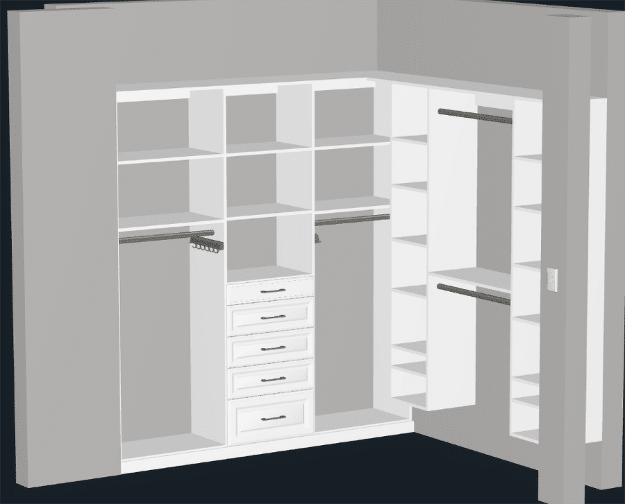 Trick 1 floor based and wall hung closet systems in a 3D design columbus ohio | Innovate Home Org  #DoubleHung #ClosetCorners #CustomCloset