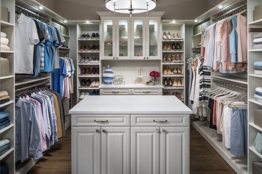 Strategy 4 Luxury walk in closet feature wall with glass doors credit www.inspiredclosetschicago.com | Innovate Home Org #StorageSolutions #Closet #GlassDoors
