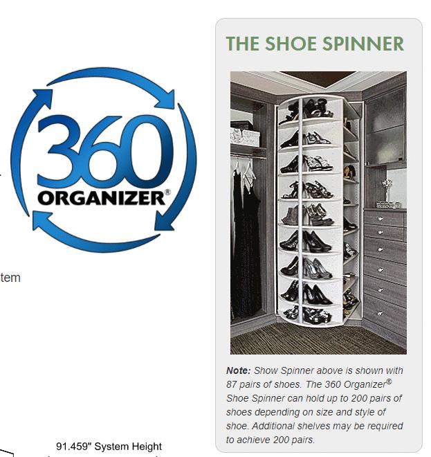Idea 2 - 360 shoe organizer for a closet corner www.plusclosets.com  | Innovate Building Solutions #customCloset #ShoeOrganizer #ShoeStorage