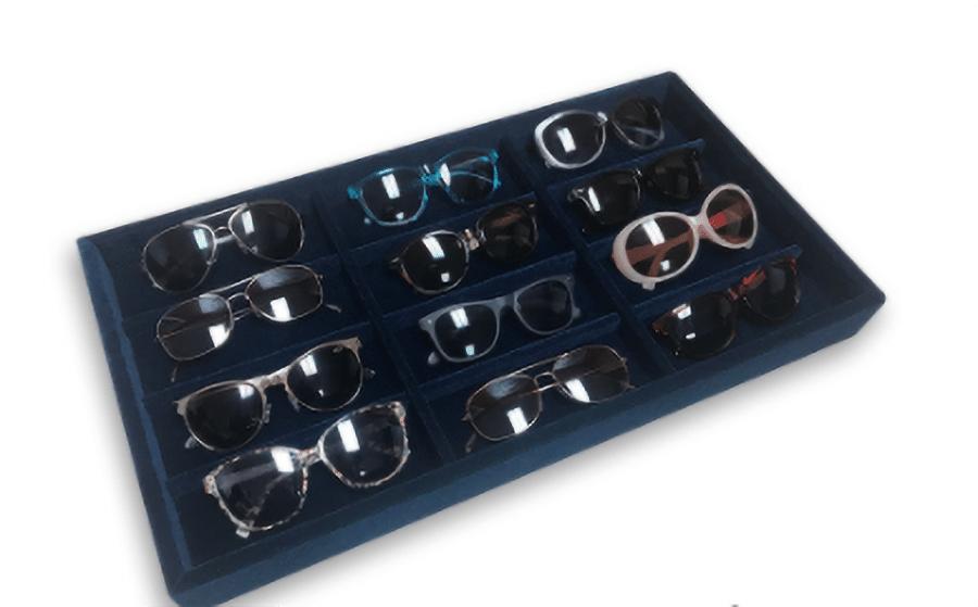 Idea 4 navy blue velvet jewelry tray designed for sunglasses | innovate Home Org #CustomStorage #Organization #NavyBlue