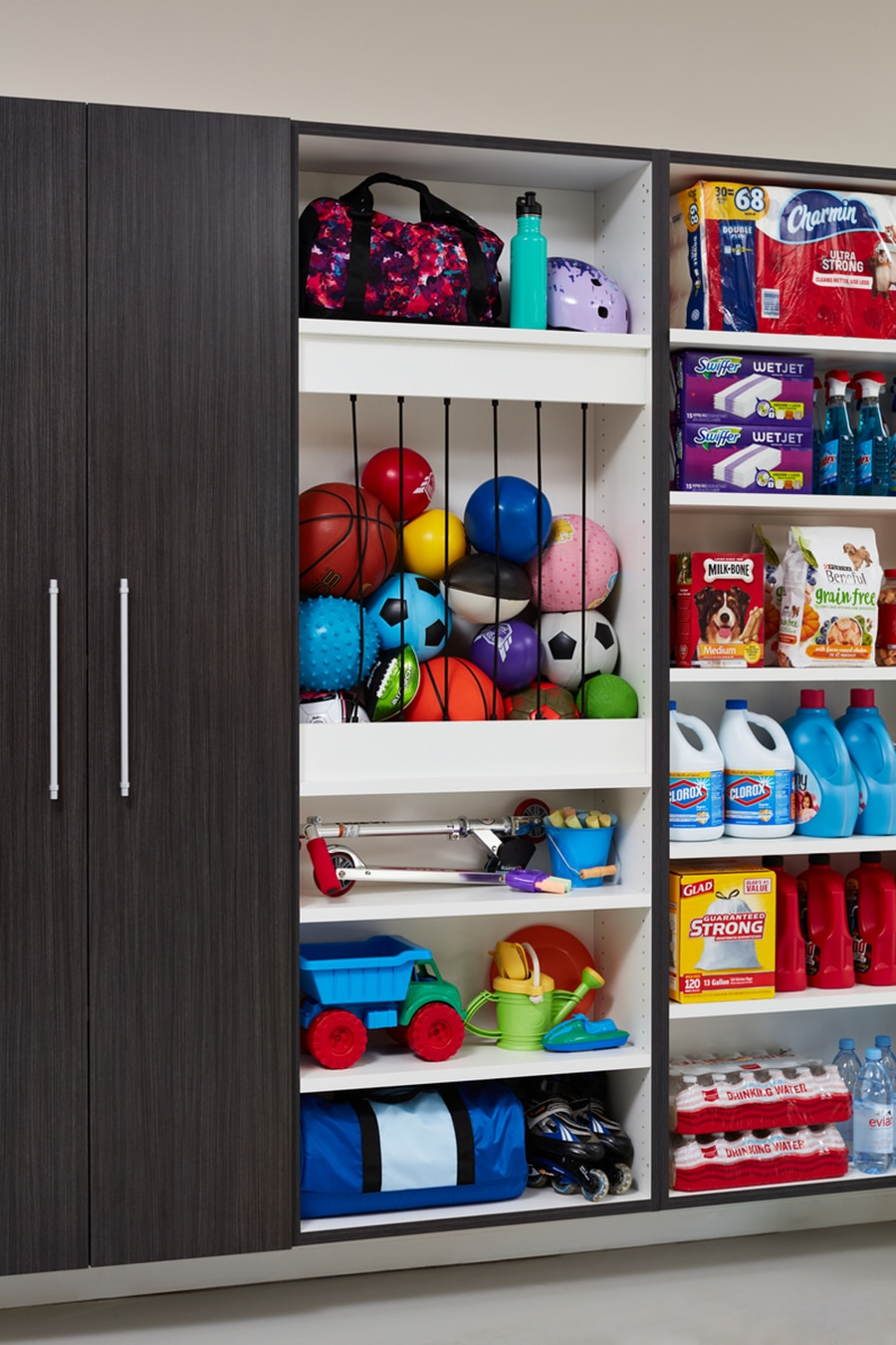 Question 2 - ball stay with bungy cords in garage cabinetry columbus by Innovate Home Org | Columbus, OH | #GarageCabinet #Storage #GarageStorage