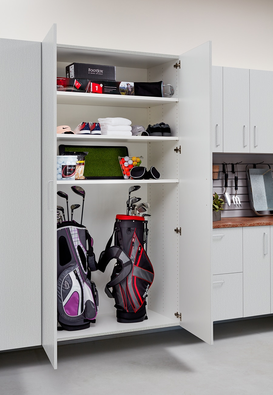 Question 4 custom garage cabinets with room for golf clubs Columbus by Innovate Home Org | Powell, OH #Golfclubs #Shelving #StorageShelving