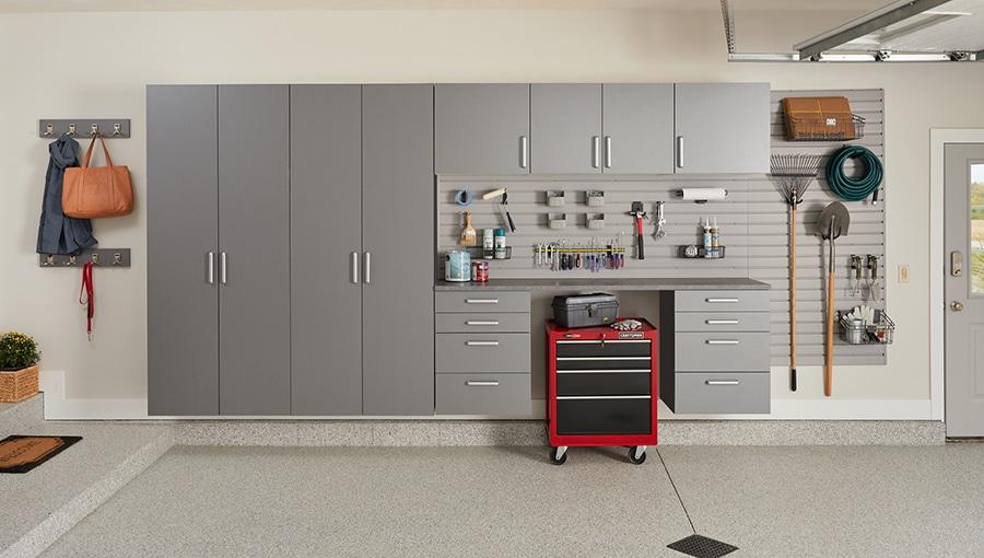 Question 6 - gray laminate garage cabinets in Columbus | Innovate Home Org | Dublin, OH #LaminateShelving #GarageCabinet #WorkBench