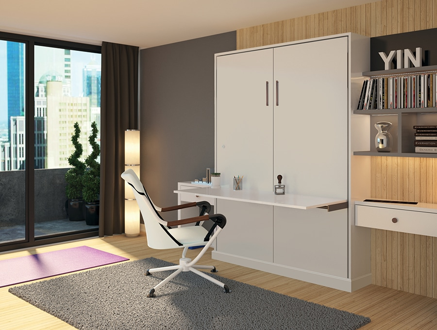 Smart idea 1 white fold out murphy desk bed with a piston Columbus   Innovate Home Org #MurphyBed #Condo #Studio #WallBed