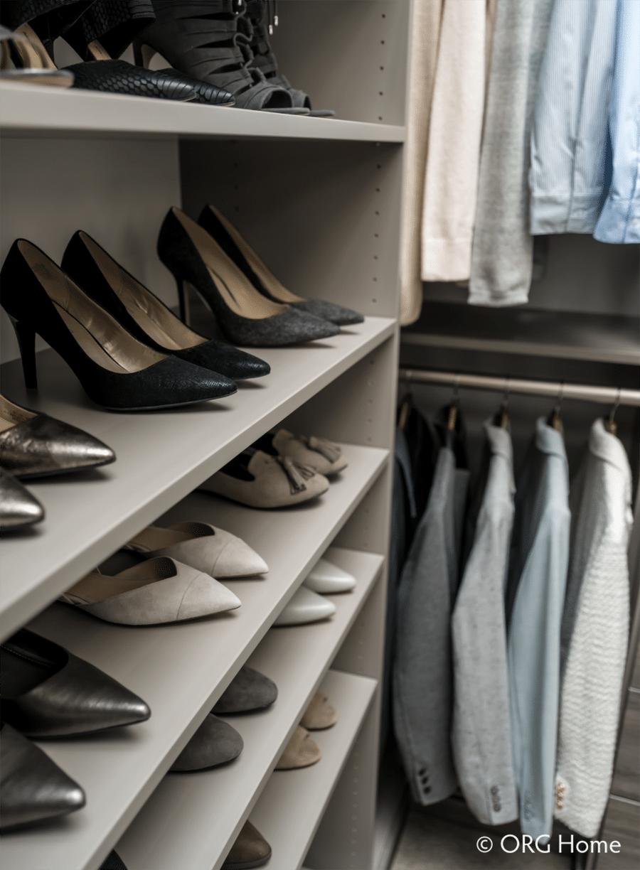 Tip 1 short spacing between adjustable shoe shelves in a columbus custom closet | Innovate Home Org | Dublin, OH #ShoeShelving #Adjustable #Shelving