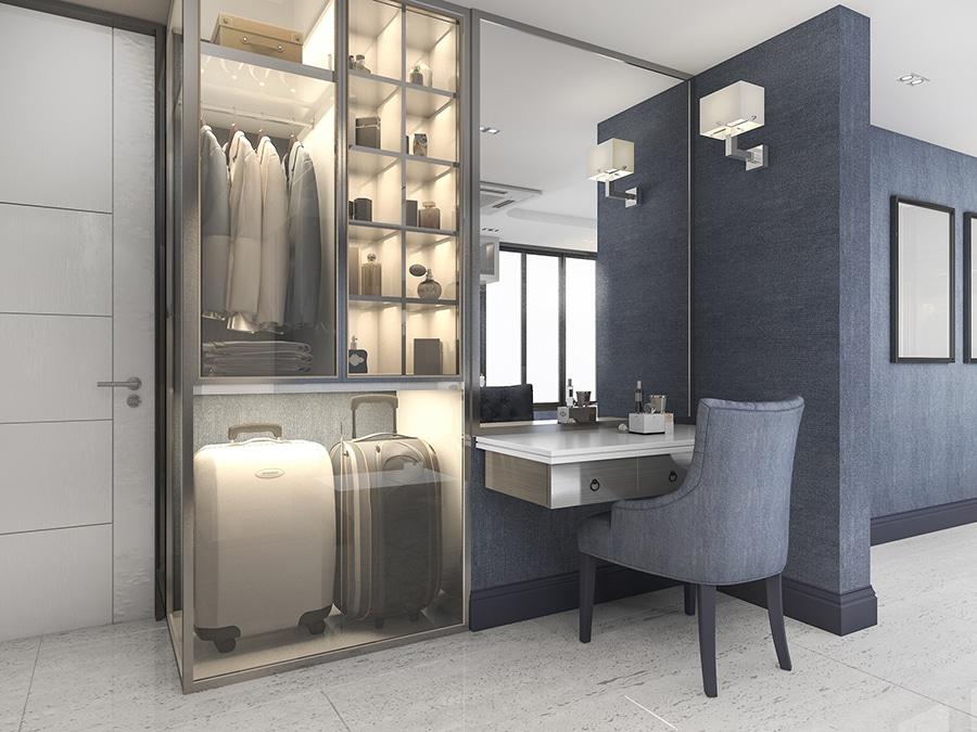 Tip 4 using mirrors to make a storage make up space feel bigger | Innovate Home Org | Columbus, OH #ClosetDesign #Mirror #Storage #InteriorDesigns