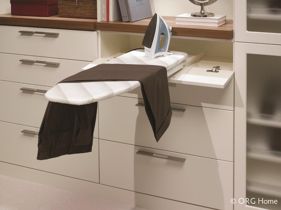 Tip 8 flip out ironing board in a custom Columbus closet Innovate Home Org | Columbus, OH | Upper Arlington, OH | #Customstorage #Ironingboard #hiddenstorage