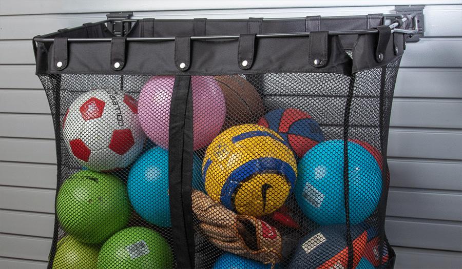 Factor 7 mesh storage basket for soccer footballs columbus garage acccessories | Innovate Home Org #Garageaccessories #Ballstorage #Meshstorage