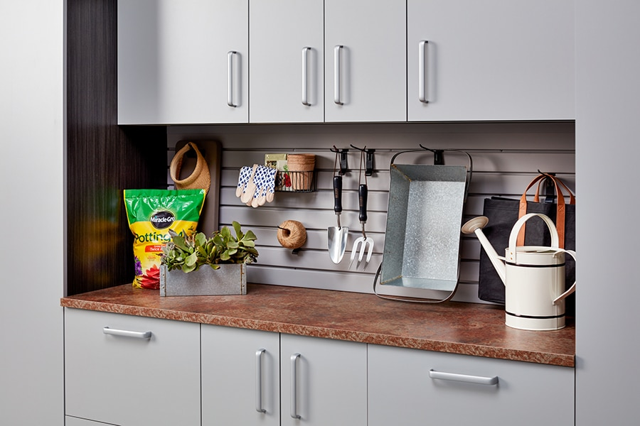 Factor 8 gray colored garage cabinets with a high pressure laminate top columbus | Innovate Home Org #Garagestorage #Organization #GrayGarage