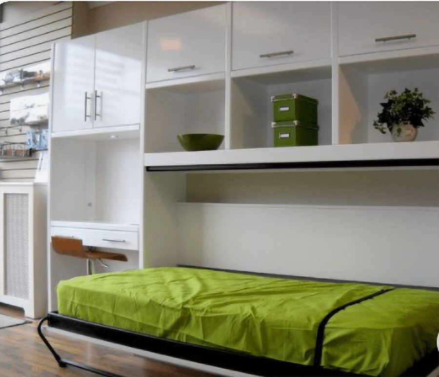 Reason 3 horizontal Murphy wall bed with storage above twin fold out bed credit www.thewowdecor.com   Innovate Home Org   Columbus Downtown   #Murphybed #WallBed #DowtownLoft