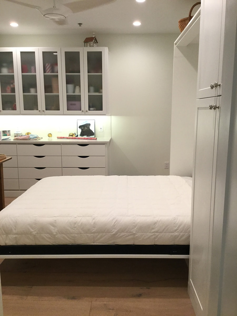 Reason 4 vertical Dublin Ohio Queen Murphy bed craft room get out on either side   Innovate Home Org #MurphyBed #Craftroom #WallBed #StudioApartment