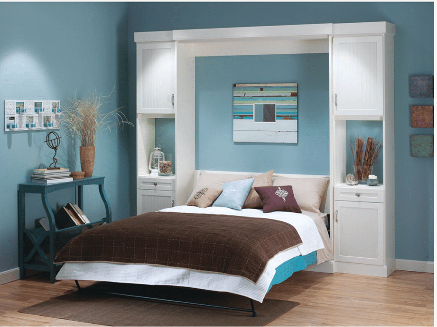 Smart idea 6 Columbus fold down wall bed with nightstand at side shaker doors   Innovate Home Org #Condo #ColumbusStudio #MurphyBed