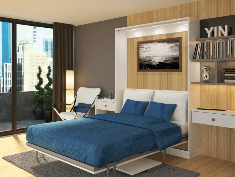 Smart idea 7 Downtown Columbus space saving Murphy wall bed with lighting   Innovate Home Org #Columbusstorage #Murphybed #Columbusmurphybed #Wallbed