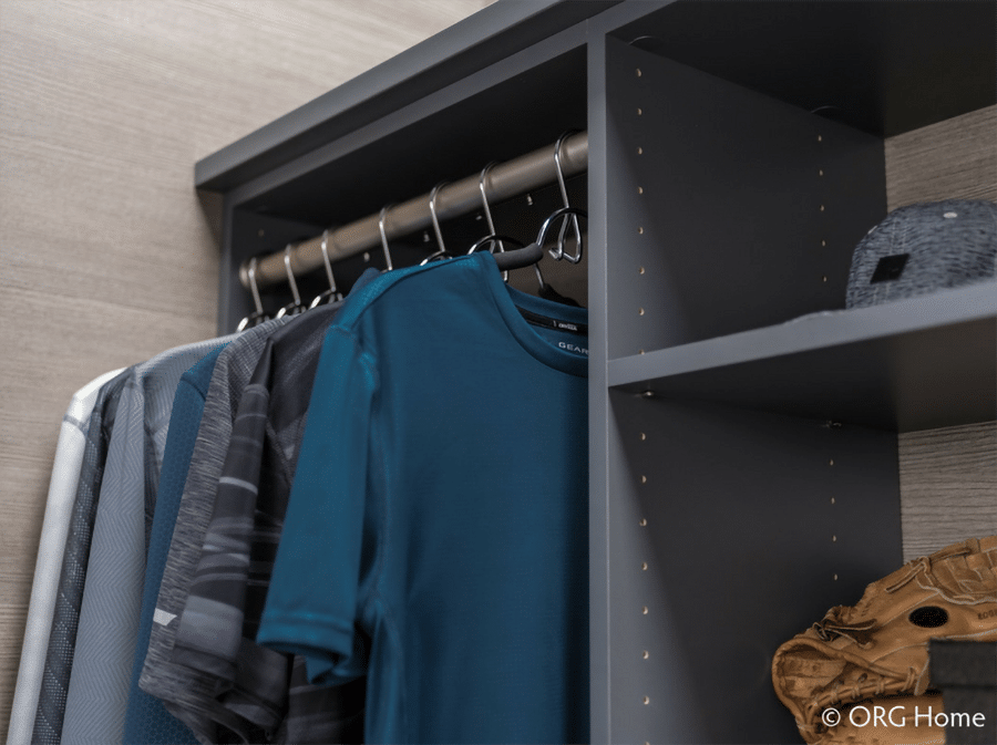 Question 3 adjustable shelves in rods in a custom worthington ohio closet | Innovate Home Org #Customstorage #Adjustableshelves #StorageSystems